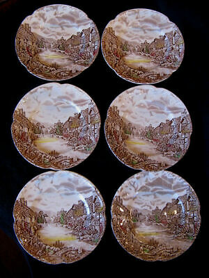 Vintage JOHNSON BROTHERS Set of 6 Bread & Butter Plates OLDE ENGLISH COUNTRYSIDE
