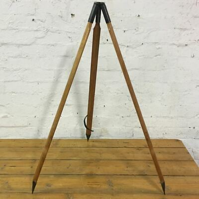 Vintage Wooden Tripod with Metal Spikes - Industrial