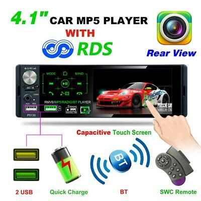 "Single 1Din 4.1"" Touch Screen Car Stereo MP5 Player RDS AM FM Radio AUX/USB/TF"