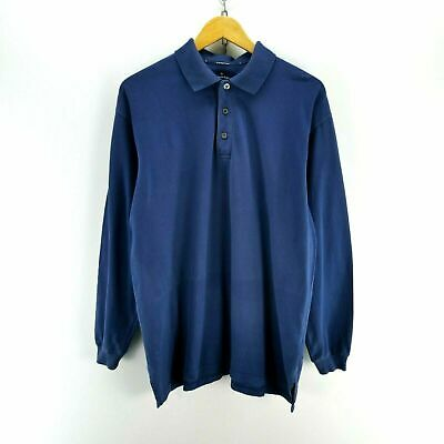 Ermenegildo Zegna Men's Polo Shirt Long Sleeve Size L in Blue Top EF5006