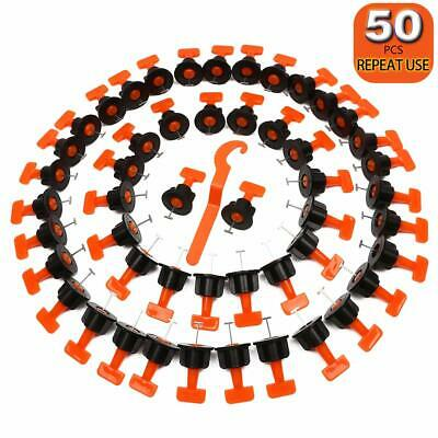 50 Pcs Tile Leveler with Special Wrench Reusable Tile Leveling System Kits