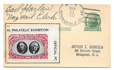 1947 Navy Ship Cancel USS Springfield CIPEX Poster Stamp Cinderella UX27 Signed