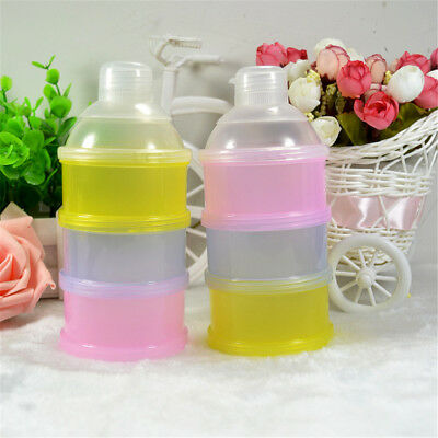 Portable Baby Feeding Milk Food Bottle Container 3 Cells Grid Practical Box 4H