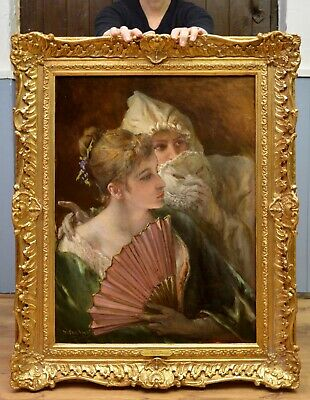 Fine Large 19thC Oil Painting Portrait French Society Beauties Girls Paris Salon