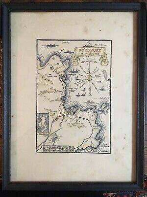 Vtg Map Of Rockport, Ma.  Antique Map -Hand Done By Joseph T. Higgins