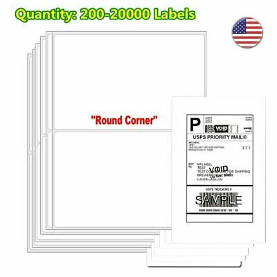 200-20000 8.5x5.5 Shipping Labels Half Sheet Self Adhesive Round Corner Laser US