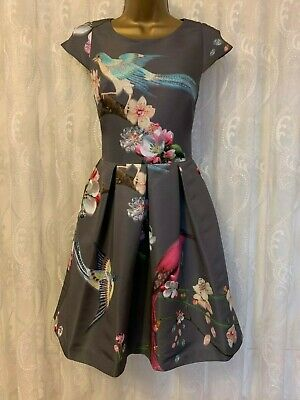 Ted Baker Flight Of Oriental Bird Floral Blossom Fit Flare Ascot Party Dress 0 6