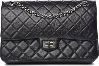 448c533532f STUNNING RARE CHANEL 2.55 flap reissue med 226 aged black patent ...