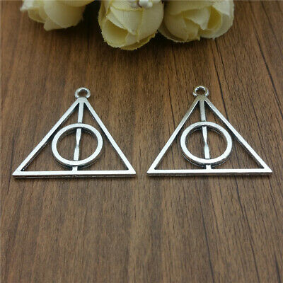 New 10//30//150pcs Filigree Harry potter Deathly Hallows Charms Pendant 31x32mm