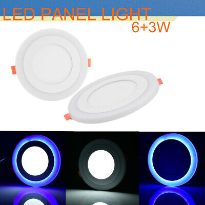 1PC LED Recessed Panel Ceiling Light ultra-slim Round 6+3W White+Blue Down Lamp