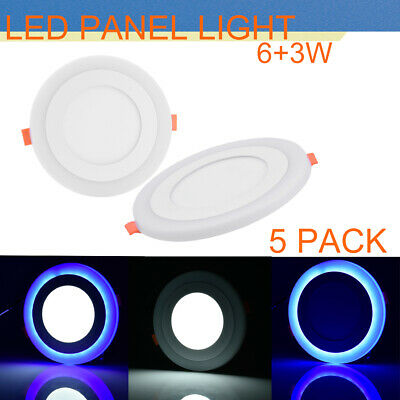 5PC LED Recessed Panel Ceiling Light ultra-slim Round 6+3W White+Blue Down Lamps