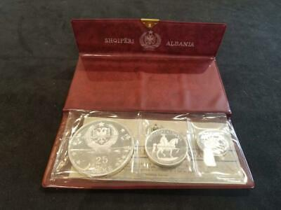 1968 Albania 3 Coin Silver Proof Set. Shqiperi Original Wallet Packaging W/ Pape