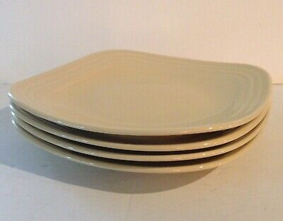 Fiestaware Set Of 4 Square Dinner Plates Pale Yellow (Ivory) Homer Laughlin