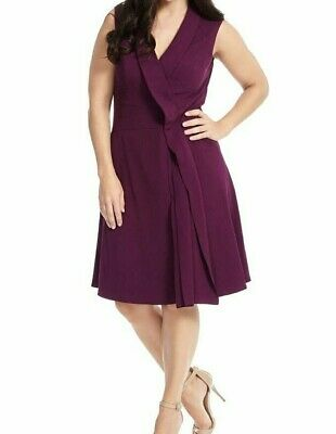 ADRIANNA PAPELL PURPLE Fit And Flare Plus Size Dress With Foldover Detail  20W