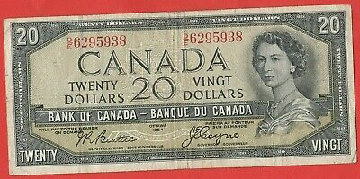 1954 Canadian Devil's Face 20 Dollar Note- Beattie/ Coyne- Circulated