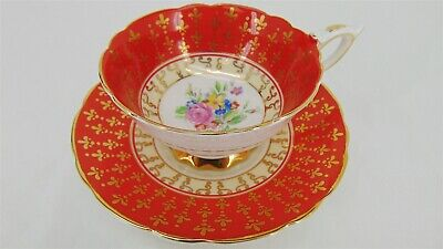 ROYAL STAFFORD Footed TEA CUP & SAUCER Granny Chic Vintage RED/GOLD Rose Floral