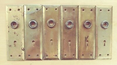 """A22 Antique Door Knob Back Plate 7"""" x 2 1/4"""" Key Hole Pressed Metal Backplate"""
