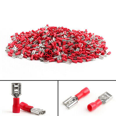 1000 X FDD 1.25-250 Female Quick Disconnect Wire Connector Terminal  Red 22-16