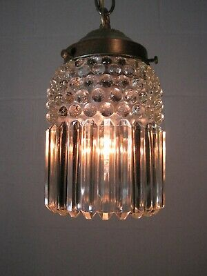 Pendant Light Antique Brass Hanging Fixture Crystal & Ball Shade Jefferson Glass
