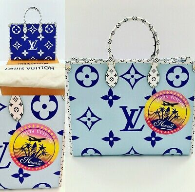 9ede8a653b3 LOUIS VUITTON GIANT ONTHEGO On The Go Tote Bag Blue White HAWAII NEW! RARE