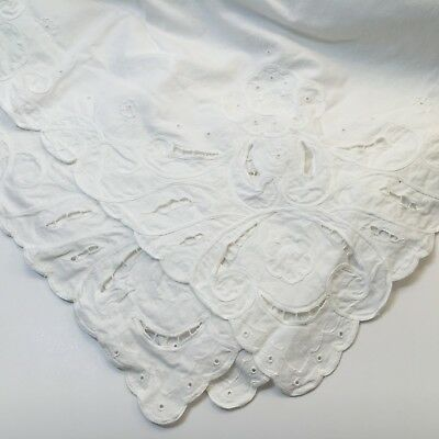 """White Cotton Table Cloth 55x64"""" Embroidered Center and Edges Previously Owned"""