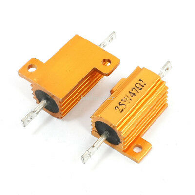 H● 2 Pcs 25W 47 Ohm Axial Wirewound Aluminum Case Resistor.
