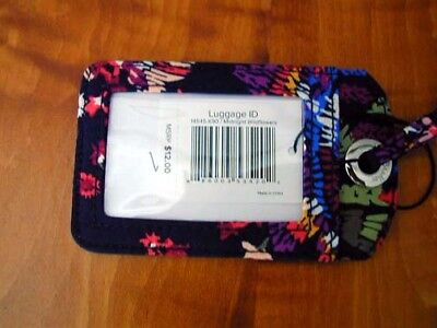 VERA BRADLEY ID BADGE or NAME LUGGAGE TAG in MIDNIGHT WILDFLOWERS MINT + TAG
