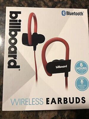 154d5b5eb56 Billboard Bluetooth Wireless Earhook Earbuds w/ Microphone Red BB897 New in  Box