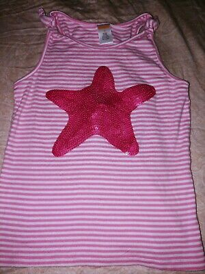 Gymboree MERMAID PARTY Pink White Striped Gold Sequin Starfish Tee Shirt Top 7
