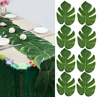 12Pcs Artificial Tropical Palm Leaves Plastic Fake Leaves Home Party Decor