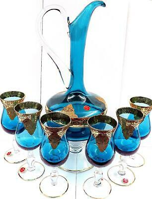 """Italian Art Glass 7Pc Teal Gold Overlay 13 3/4"""" Decanter & Glasses Orig Stickers"""