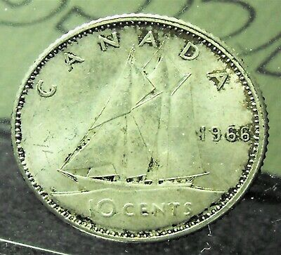 Canada 1966 10 cent Dime Graded ICCS MS64. A74