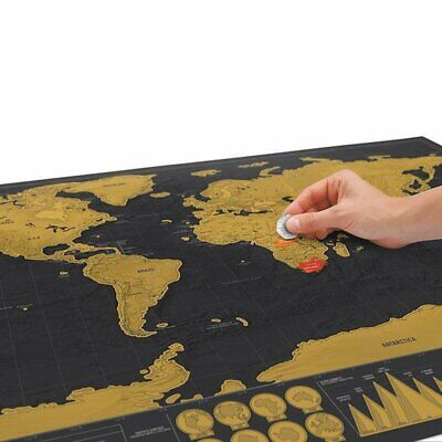Deluxe Scratch Off World Map Poster Personalized Travel Vacation Log Gift