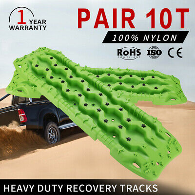 Green 10T Heavy Duty Recovery Tracks 4WD Off Road 4x4 Sand Snow Track Pair
