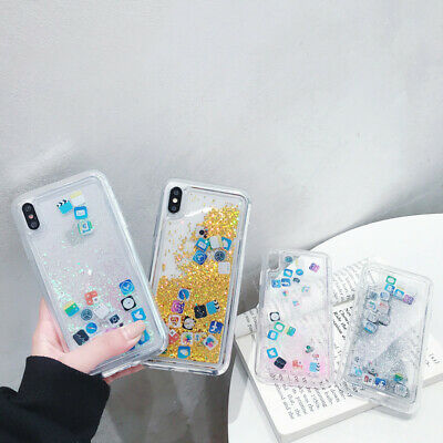App Icon Dynamic Liquid Glitter Quicksand Case Cover For iPhone XS Max XR 8 7 6S