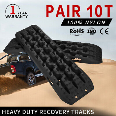 Pair Black 10T Recovery Tracks Off Road 4x4 4WD Car Snow Mud Sand Trax