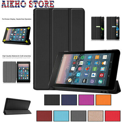 For Amazon Kindle Fire 7 2019 Leather Ultra Slim Magnetic Stand Flip Case Cover