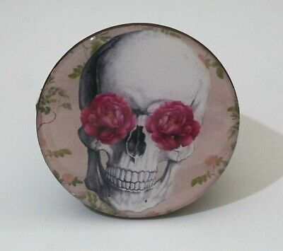 Round Wooden Wall Hook Coat Hook Handcrafted Wall Hook Gothic Skull With Roses