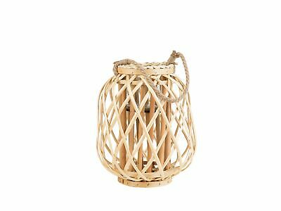 Natural Willow Candle Holder Lantern Teal Light Rope Handle Light Wood Mauritius