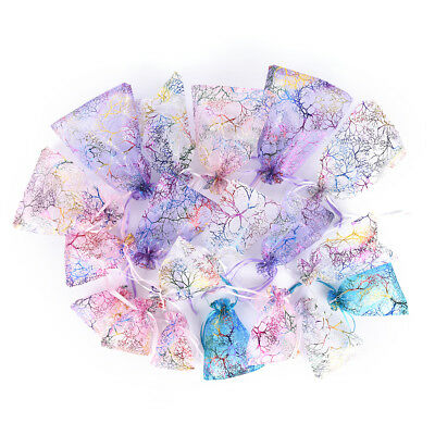 10pcs Jewelry Pouch Gift Bags Wedding Organza Pouches Decoration Random GN