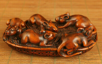 Antique old boxwood hand carving 5 mouse lucky statue figue table decoration