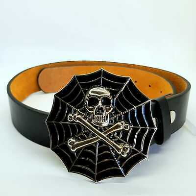 Skull And Crossbones Spider Web Belt Buckle Gothic Biker chrome feeanddave