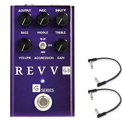 Revv Amplification G3 Distortion Pedal w/ (2) Flat Patch Cables