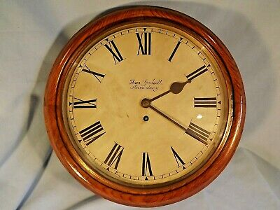Super Oak Case Fusee Round Dial Wall Clock C1890.