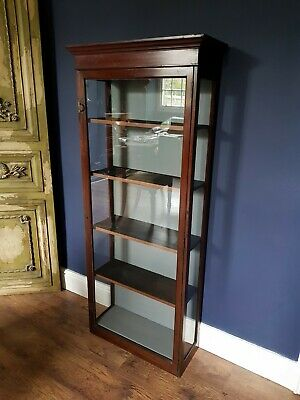 Victorian antique mahogany pine glazed shop display cabinet. Wall/floor case