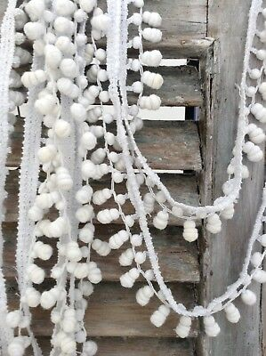 Antique French pom pom bobble trim barrel tassels white cotton 19th c dolls