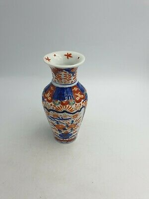 Antique Chinese Imari Porcelain Vase Hand Painted Cobalt Blue Rust Red Floral