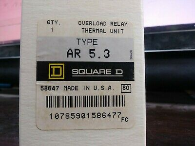 Square D Ar 5.3 Ar5.3 Overload Relay Thermal Unit Set Of 3 New In Box