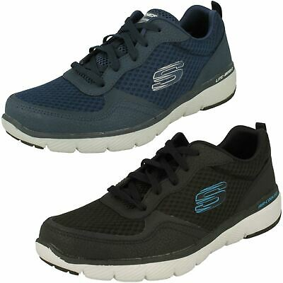 Mens Flex Advantage navy coated leather textile trainer by Skechers £49.99