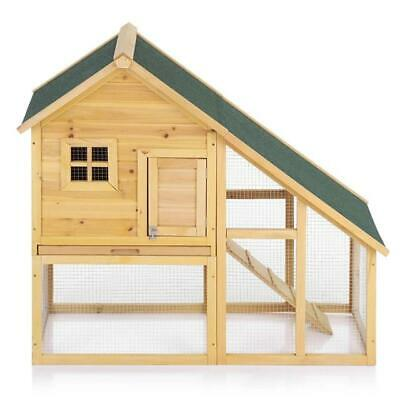 Large Outdoor Wooden Chicken Coop Solid Wood Rabbit Hutch Hen House Pet Poultry